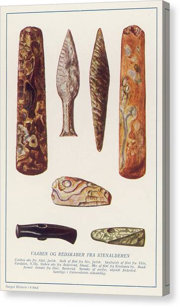 Stone Age Artifacts From Norway - Tools Canvas Print by Mary Evans Picture Library