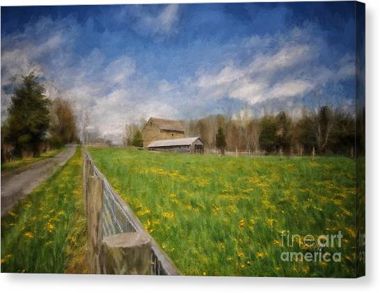 Dirt Road Canvas Print - Stone Barn On A Spring Morning by Lois Bryan