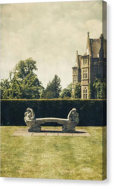 Green Canvas Print - Stone Bench by Joana Kruse