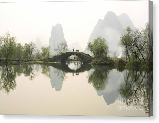 Cow Farms Canvas Print - Stone Bridge In Guangxi Province China by King Wu