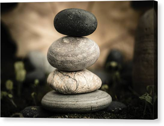 Mystic Setting Canvas Print - Stone Cairns I by Marco Oliveira