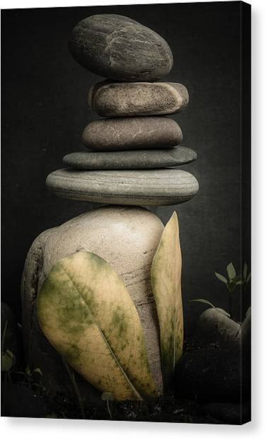 Mystic Setting Canvas Print - Stone Cairns V by Marco Oliveira