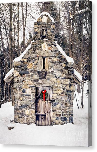 Wreath Canvas Print - Stone Chapel In The Woods Trapp Family Lodge Stowe Vermont by Edward Fielding