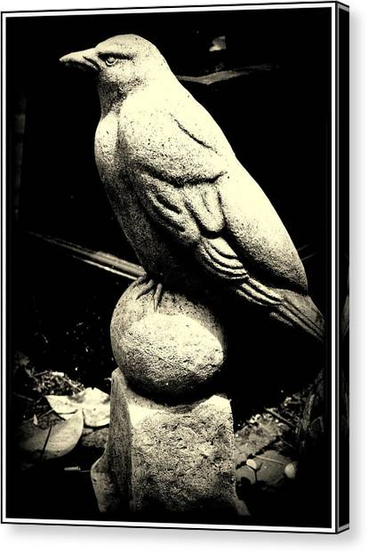 Stone Crow On Stone Ball Canvas Print