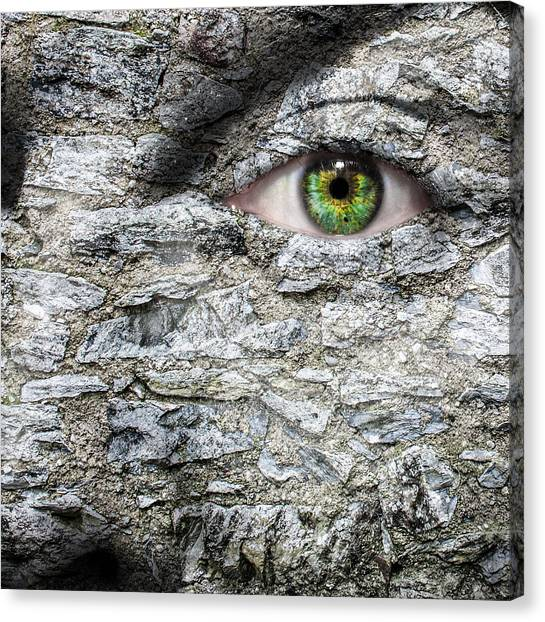 Gorgons Canvas Print - Stone Face by Semmick Photo