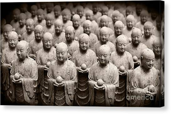 Stone Figures Of Jizo Canvas Print