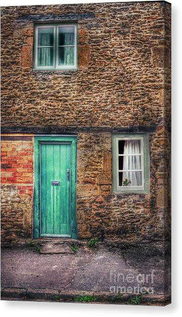 Charming Cottage Canvas Print - Stone House With Green Door by Jill Battaglia