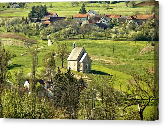 Stone Made Church In Green Nature Canvas Print