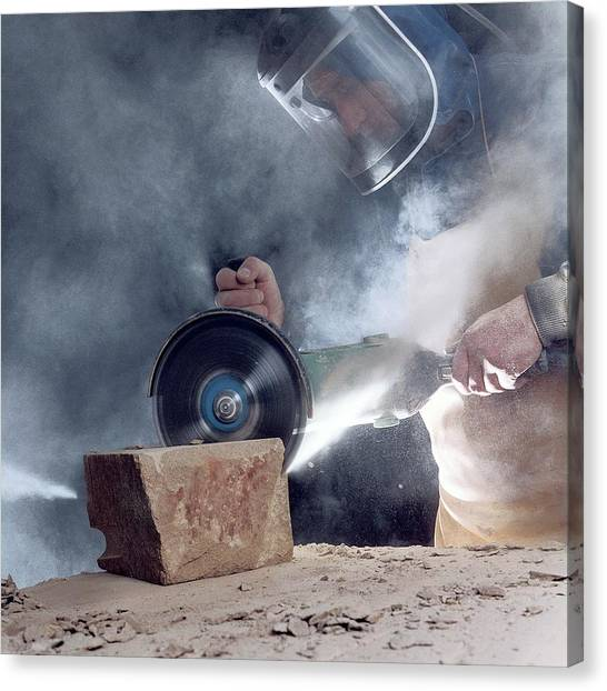 Saws Canvas Print - Stone Masonry Dust Exposure by Crown Copyright/health & Safety Laboratory Science Photo Library