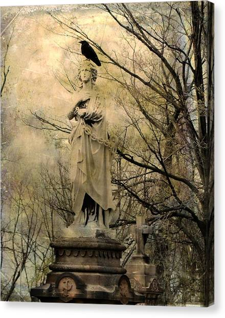 Ravens In Graveyard Canvas Print - Stone Perch by Gothicrow Images