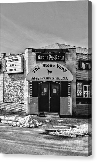 Ward Canvas Print - Stone Pony In Black And White by Paul Ward