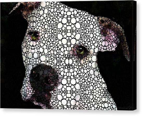Pit Bull Canvas Print - Stone Rock'd Dog By Sharon Cummings by Sharon Cummings