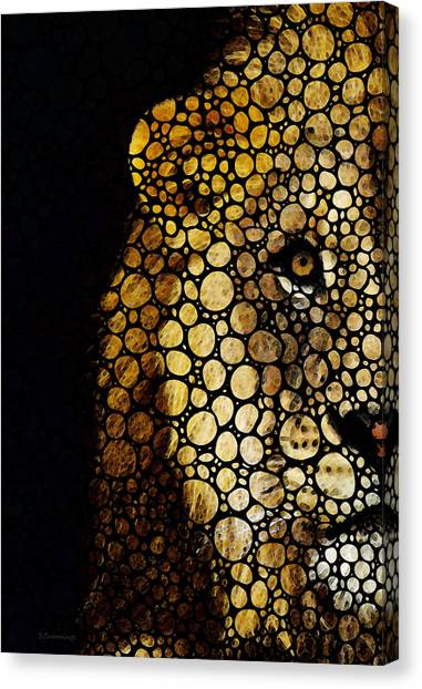 Detroit Lions Canvas Print - Stone Rock'd Lion - Sharon Cummings by Sharon Cummings