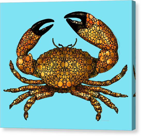 Crabs Canvas Print - Stone Rock'd Stone Crab By Sharon Cummings by Sharon Cummings