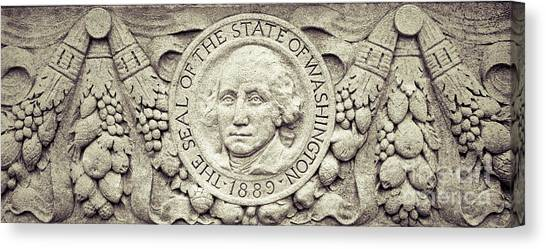 Canvas Print featuring the photograph Stone Seal Of The State Of Washington by Merle Junk