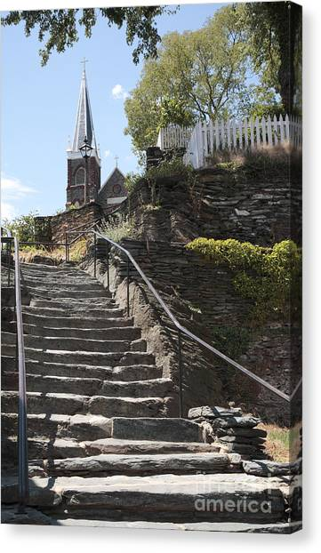 Stone Steps And Saint Peters Church At Harpers Ferry Canvas Print
