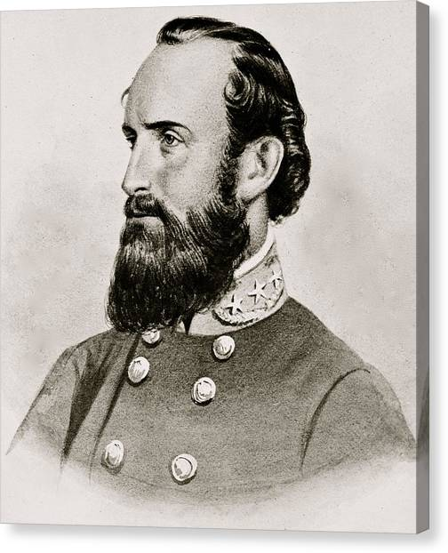 Confederate Army Canvas Print - Stonewall Jackson Confederate General Portrait by Anonymous