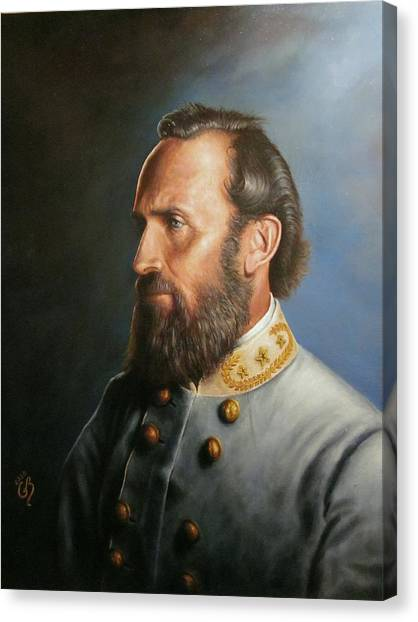 Confederate Army Canvas Print - Stonewall Jackson by Glenn Beasley