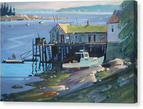 Low Tide Canvas Print - Stonington Maine by Len Stomski