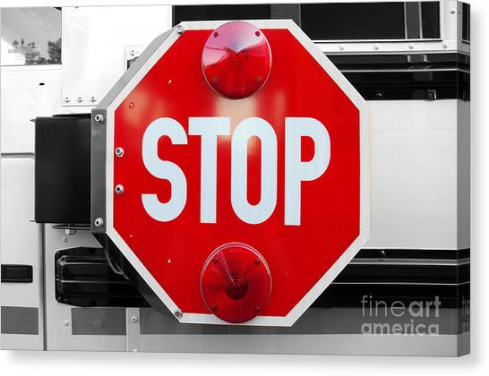 Stop Bw Red Sign Canvas Print