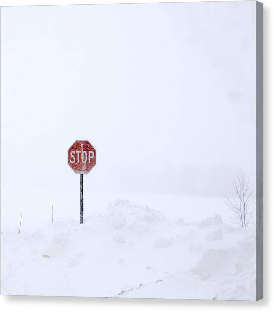 Stop For Snowstorm Canvas Print