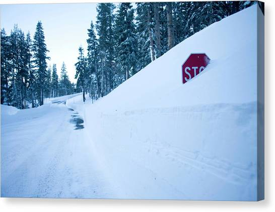 Stop Sign Canvas Print - Stop Sign Buried In Snow At Kirkwood by Justin Bailie