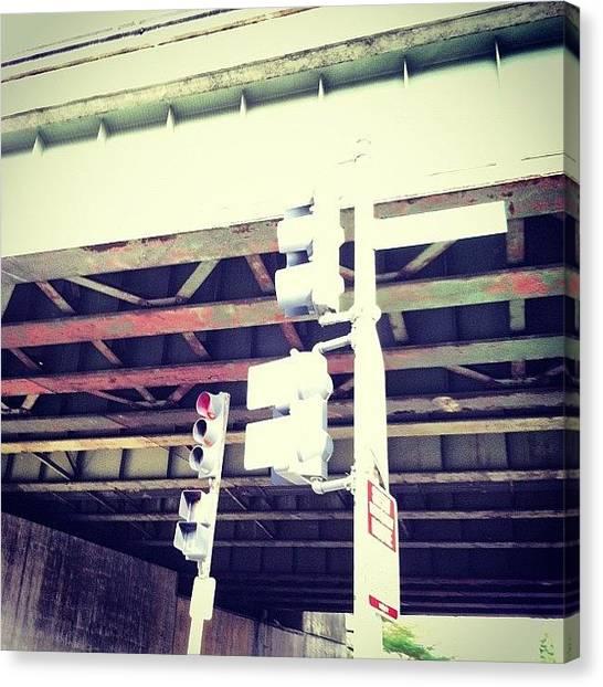 Stoplights Canvas Print - Stoplight Under The Bridge by Chanda Causer