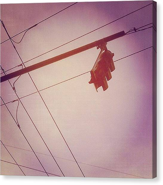 Stoplights Canvas Print - #stoplight #wires #electric #lines by Megan Petroski