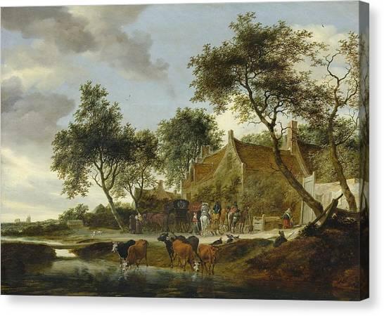 Rijksmuseum Canvas Print - Stopping Place by Salomon van Ruysdael