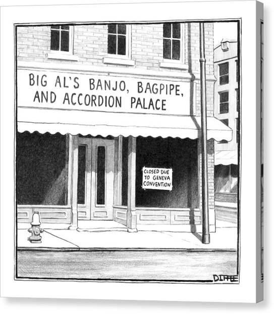 Bagpipes Canvas Print - Store Front Window. Store Name Is Big Al's Banjo by Matthew Diffee