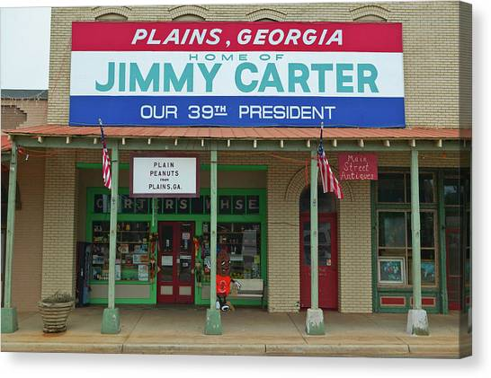 U. S. Presidents Canvas Print - Storefront With Banner Exclaiming by Panoramic Images