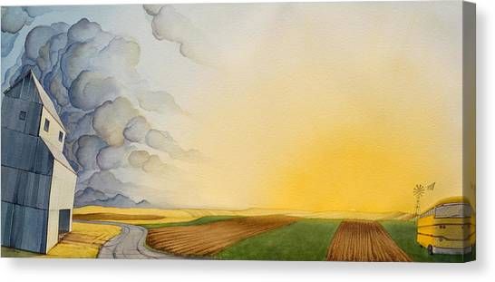 Canvas Print featuring the painting Storm And Sunset II by Scott Kirby