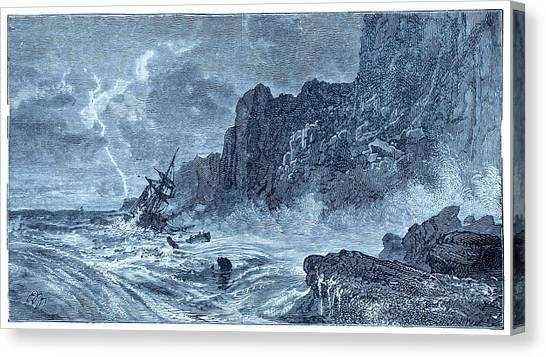 Drown Canvas Print - Storm At Sea And Shipwreck by David Parker/science Photo Library