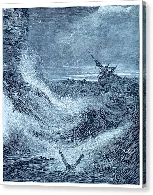 Drown Canvas Print - Storm At Sea. by David Parker/science Photo Library