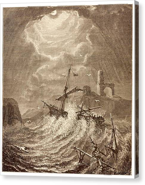 Drown Canvas Print - Storm At Sea Off The Cornish Coast by David Parker/science Photo Library