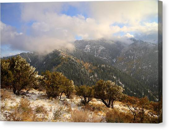 Storms Canvas Print - Storm Atop Oquirrhs by Chad Dutson