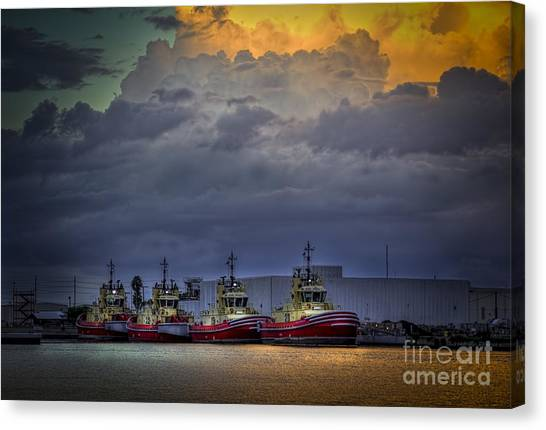 Tugboat Canvas Print - Storm Brewing by Marvin Spates