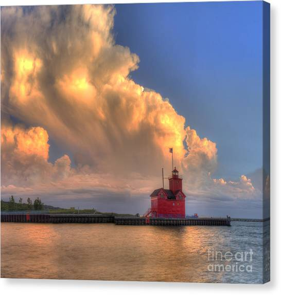 Big Red Canvas Print - Storm Cloud Over Big Red Lighthouse by Twenty Two North Photography