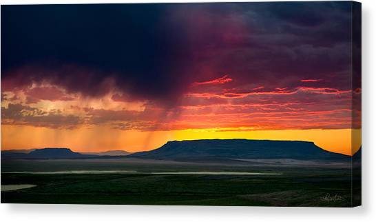 Storm Clouds Over Square Butte Canvas Print