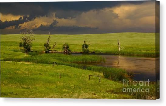 Barn Storm Canvas Print - Storm Crossing Prairie 1 by Robert Frederick