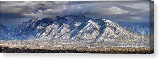 Storm Front Passes Over The Wasatch Mountains And Salt Lake Valley - Utah Canvas Print