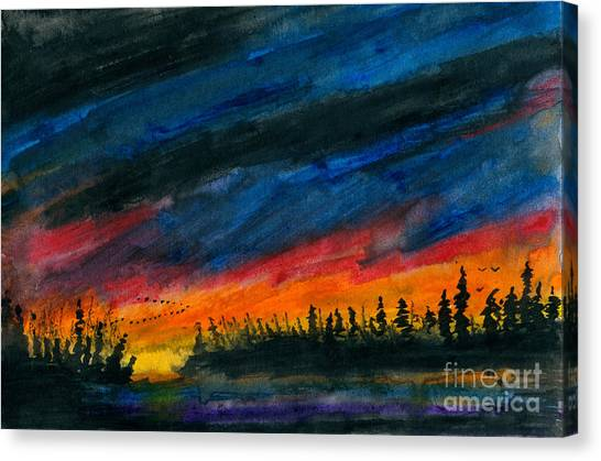 Storm Moving Out Canvas Print by R Kyllo