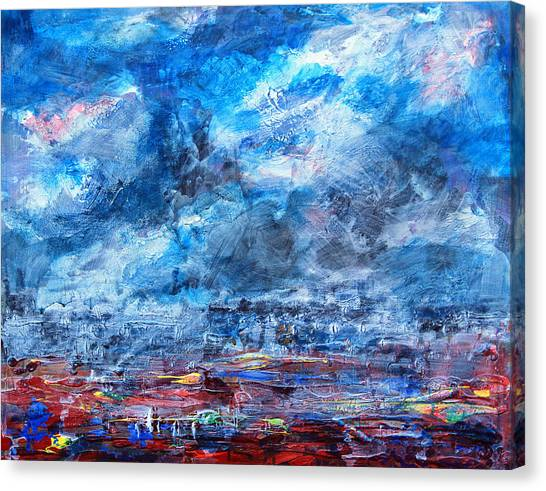 Storm Over Flower Fields Canvas Print by Walter Fahmy