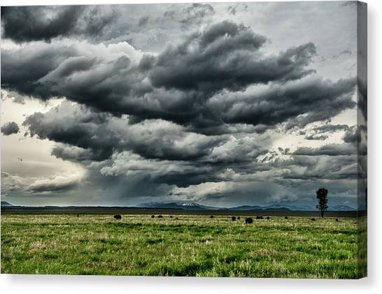 Storm Over Jackson Hole Valley Canvas Print by Jeff R Clow