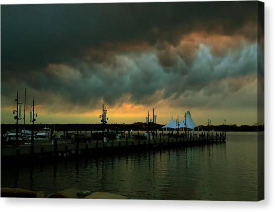 Storm Over National Harbor Oil Canvas Print