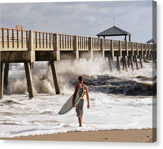 Surfing Canvas Print - Storm Surfer by Laura Fasulo
