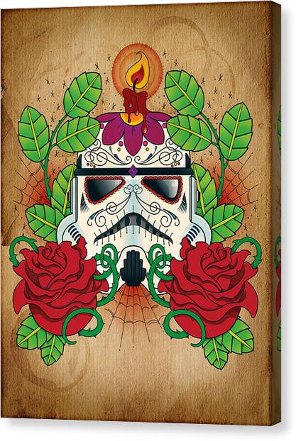 Storms Canvas Print - Storm Trooper Sugar Skull by Samuel Whitton