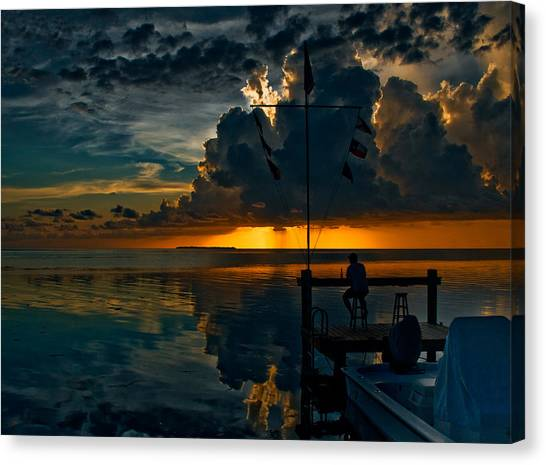 Sunset Tropical Storm And Watcher In Florida Keys Canvas Print