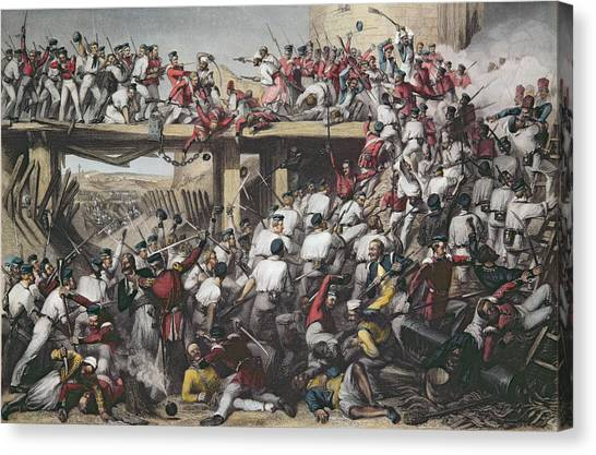 Sikh Canvas Print - Storming Of Delhi, Engraved By T.h. Sherratt, Published By The London Printing And Publishing by Matthew Matt Somerville Morgan