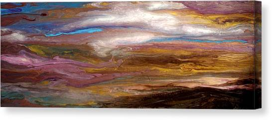 Storms At Sunset / Original Skyscape Painting Canvas Print